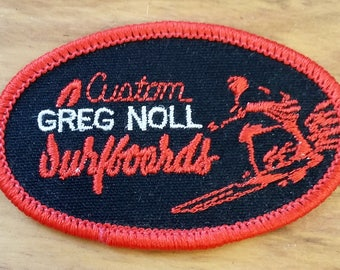 Vintage Patch Custom Greg Noll Surfboards Red Black 60's 70's Collectible Fashion Accessory Jean Jacket Patch Rad Beach Surfer Dude