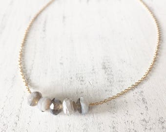 Gray Bead Bar Necklace