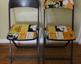 "Vintage - retro - industrial pair of black metal folding chairs ""POP ART"" decal 1960- 1970's....so unique."