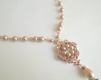 champagne pearl and crystal necklace rose gold necklace backdrop pearl necklace Statement Bridal necklace Wedding Rhinestone necklace AMELIA
