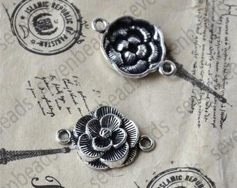 12 pcs Antique Silver flower Connectors Charms Pendant,pendant Flower Connector,flower Charm findings bead