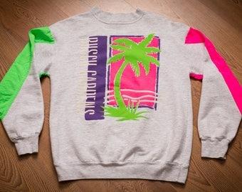 Busch Gardens Crewneck Sweatshirt, Bright Neon Pink & Green, Vintage 80s-90s, Rudman Sportswear, Long Sleeve Shirt, Palm Tree Graphic