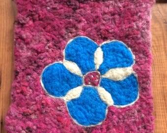 Blue Flower Needle Felt Wall Hanging