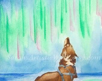 "Print of Original Watercolor ""Lonesome"" by Sarah Marie Bevard Dogsled Art Dogsledding Alaska Northern Lights"