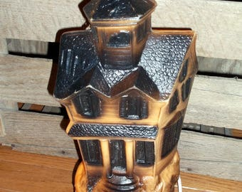 vintage vtg halloween blow mold blowmold haunted house lighted blow mold decoration trick or treat fall