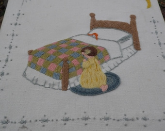 Sampler embroidery sampler of little girl kneeling in prayer by her bed with moon and stars bordering her 11 1/2 x 11 1/2""