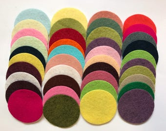 Wool Felt Circles 40 - 1 3/4 inch Random Colored 4070 - felted circle - circle die cut - headband supplies