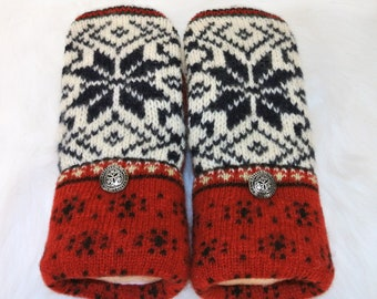 Winter White, Blue & Red Snowflake 100% Wool Women's Recycled Sweater Mittens