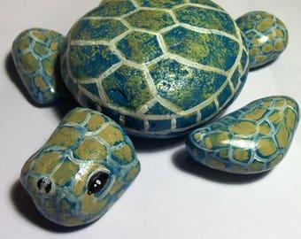 Sea Turtle Painted Rock Stones