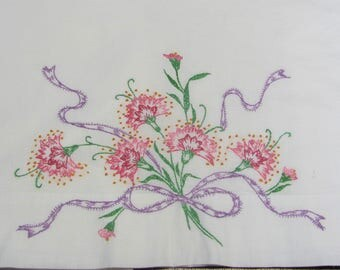 Vintage Penneys Hand Embroidered Full Flat Cotton Bed Sheet Pink Floral
