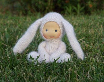 """Waldorf doll Bunny  8,5"""" Gifts for Children, Toddlers Newborn Girls birthday knitted toy"""