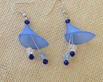 Blue Lucite Calla Lily With Crystals Drop Earrings