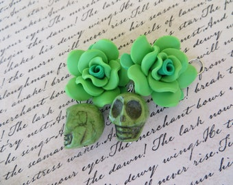 Green Skulls And Green Polymer Clay Roses Earrings