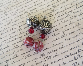 Beautiful Silver Metal Red Crystal And Swirled Glass Bead Dangling Earrings