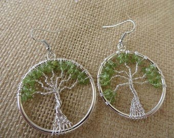 Peridot Gemstone Chip Tree Of Life Earrings