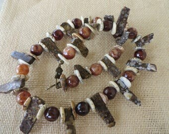 Tribal Inspired Beaded Necklace With Speckled Brown Jasper Spears Round Agate And Flat Shell Beads