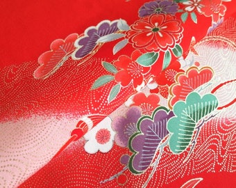 Japanese pure silk from Kyoto Red Floral pattern  No.4