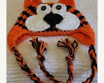Crochet Tiger Earflap Hat Custom Size Newborn-Preteen