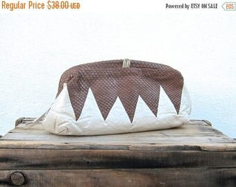 20% Off Sale SALE Vintage Brown Chevron Snakeskin and Pearlescent Cream Leather Large Clutch