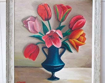 Signed French Framed Painting. Vase of Flowers  \\ Tulips  //  Signed A Sagot      (6499)