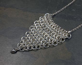 Britannia Necklace Sterling Silver Triangular European 4 in 1 Chainmaille Necklace