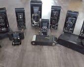 Lot of 10 Folding Vintage Cameras: Kodak Hawkeye, Brownie, & Autographic, Foldex, Icarette, and Actus (Early 1900s)