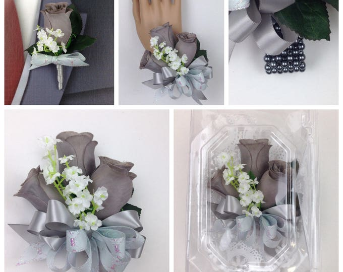 New Artificial Gray Rose Corsage, Gray Rose Mother's Corsage, Gray Corsage, Gray Wedding Flowers