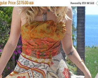 XMAS IN JULY Octavia Gown /// Silk Flow Dress /// Vintage Saree Print  /// one of a kind /// Large