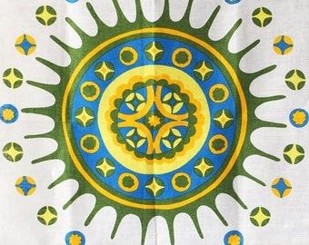 Vintage Tea Towel Mandala Motifs Fragonard Irish Linen