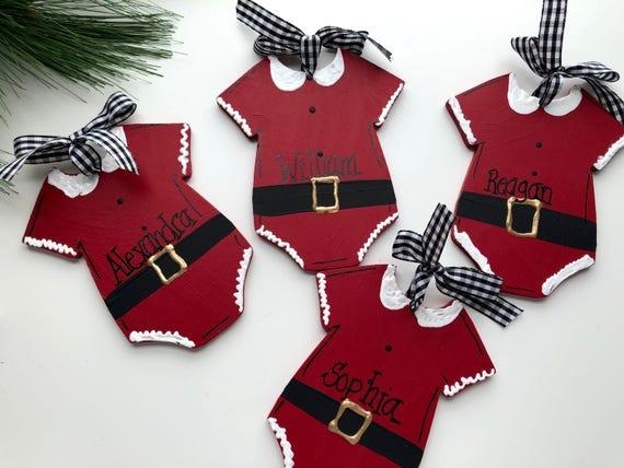 Personalized baby Christmas ornament, Children's, personalized, Christmas, ornament, Elf ornament, my 1st xmas, Santa suit ornament, santa
