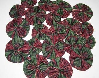 Christmas Fabric YoYos, 20 Dark Green & Maroon, 2 Sizes,  Crafting, Appliques, Embellishments