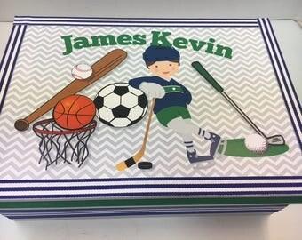 1st Birthday Time Capusule Keepsake box - Sports Theme