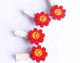 4 flower clothespins Red and Yellow - Scrapbooking Craft Home Office