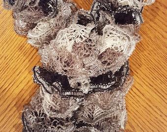 Black & Gray Ruffle Scarf