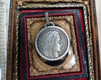 Antique French Virgin Mary Medallion, Ave Maria Sacred Heart, offered by RusticGypsyCreations