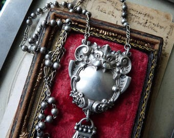 Antique Victorian Gothic Bat Gargoyle & French Fob Rosary Necklace, A Talisman for the Shaman, by RusticGypsyCreations