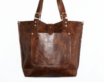 Leather handbag tote purse shoulder bag Ria size L