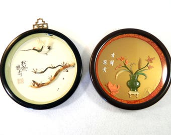 """Vintage Asian Sculpted Jade Coral Koi Fish Vase Crane Real Feathers Pictures - Diorama - 7 1/2"""" Round Frame - Set of 2"""