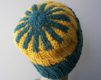 ICELANDIC LOPI WOOL Slouch Beanie Color Block Hat in Blue Yellow / Turquoise Lopi yarn Knit Slouch Fold Up hat/ Ready to Ship