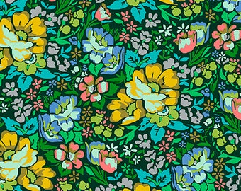 In stock Overachiever in forest from the Floral Retrospective fabric collection by Anna Maria Horner for Free Spirit fabrics