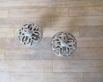 2 Mid Century Silver and White Knobs Vintage Retro Round Drawer Pulls for your Furniture Drawers or Cabinets B-27