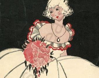"Digital Ephemera for Collage, Scrapbooking and Cardmaking - "" My Carolina Rose "" Instant Download - Vintage Inspired Illustration"