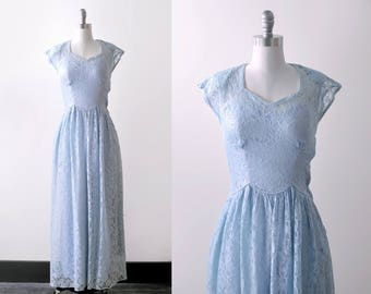 40 blue gown. lace. 1940's dress. xs. pastel. long. prom. Floral lacy. periwinkle.