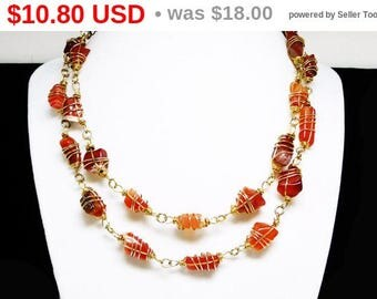 Summer Sizzler Sale Vintage Wire Wrapped Agate Necklace - Opera Length - 1980's Retro Design