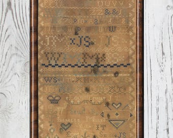 "c1830 Isabella Milne's ""Love Truth"" framed sampler with teacher's name cross stitch embroidery antique"