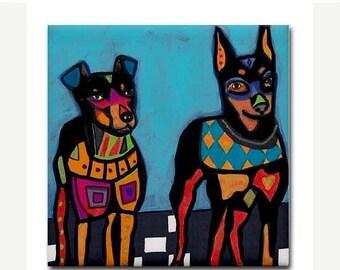 45% Off Today- Ceramic Tile  Min Pin Art DogModern Abstract Print on Coaster  Miniature Pinscher Coaster