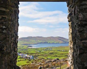 Ireland, Irish Miners, Cornish Man Engine, Beara Peninsula, Butte, Allihies, Copper, Patchwork, Mountain, Landscape, Window, County Cork