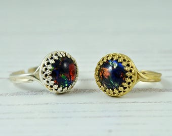 Black Opal Ring Gold Or Silver