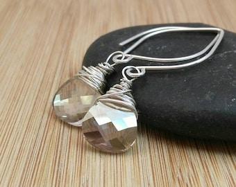 Light Grey Swarovski Crystal Earrings. Simple Grey Earrings. Sterling Silver Earrings. Minimalist Jewelry. Silver Teardrop. Bridal Earrings.
