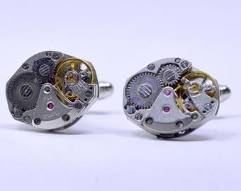Stunning oval watch movement cufflinks ideal gift for fathers day 85